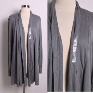 NWT Ann Taylor Open Cardigan Sweater Dark Gray XL